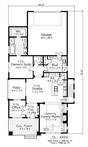 House Plan 098 00003 Craftsman Plan 1 598 Square Feet 1 2 Bedrooms 1 5 Bathrooms Bungalow Style House Plans House Plans House Floor Plans