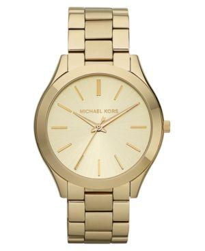 Michael Kors Women's Slim Runway Gold-Tone Stainless Steel Bracelet Watch 42mm MK3179 - Gold
