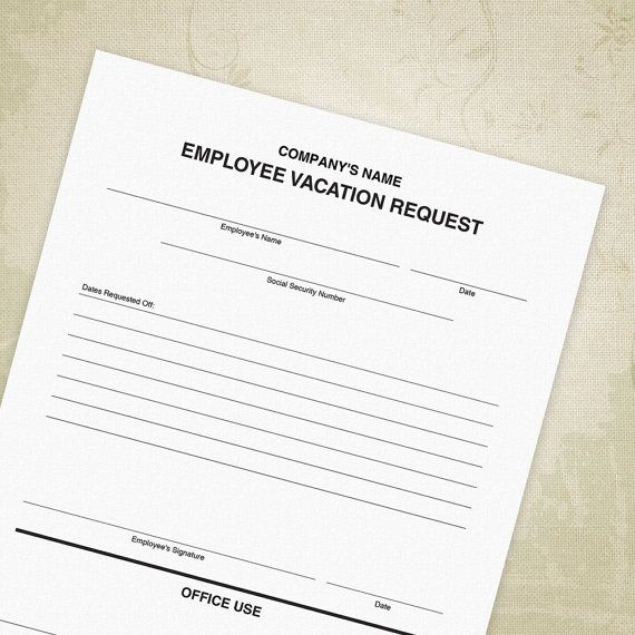 Employee Vacation Request Form PDF, Time Off Sheet - Editable Custom - time off request form sample