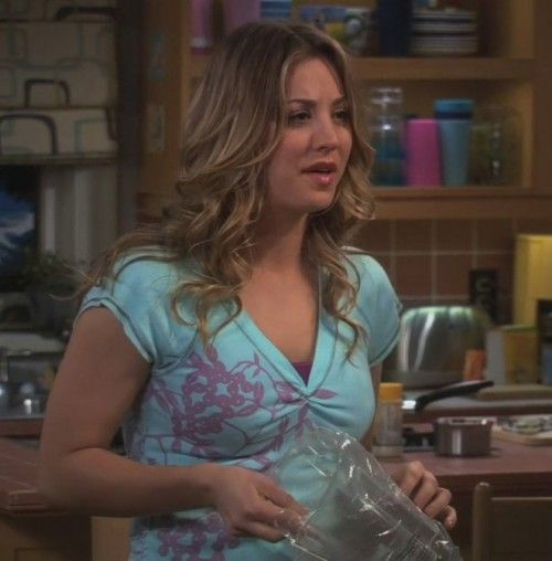 FIND ME THIS SHIRT!!! Penny's aqua/turquoise shirt with purple leaf print on The Big Bang Theory. Outfit Details: http://wornontv.net/797/