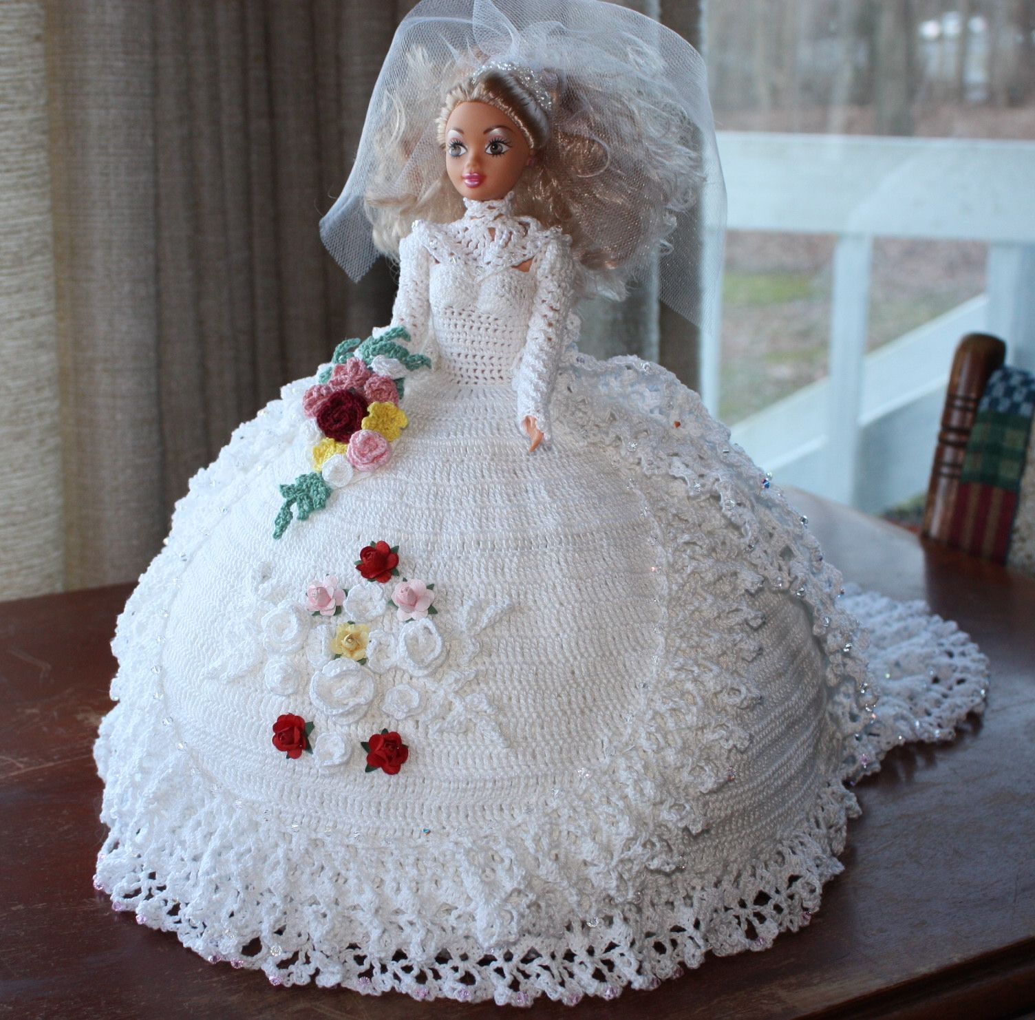 handcrocheted barbie bride gown embellished with