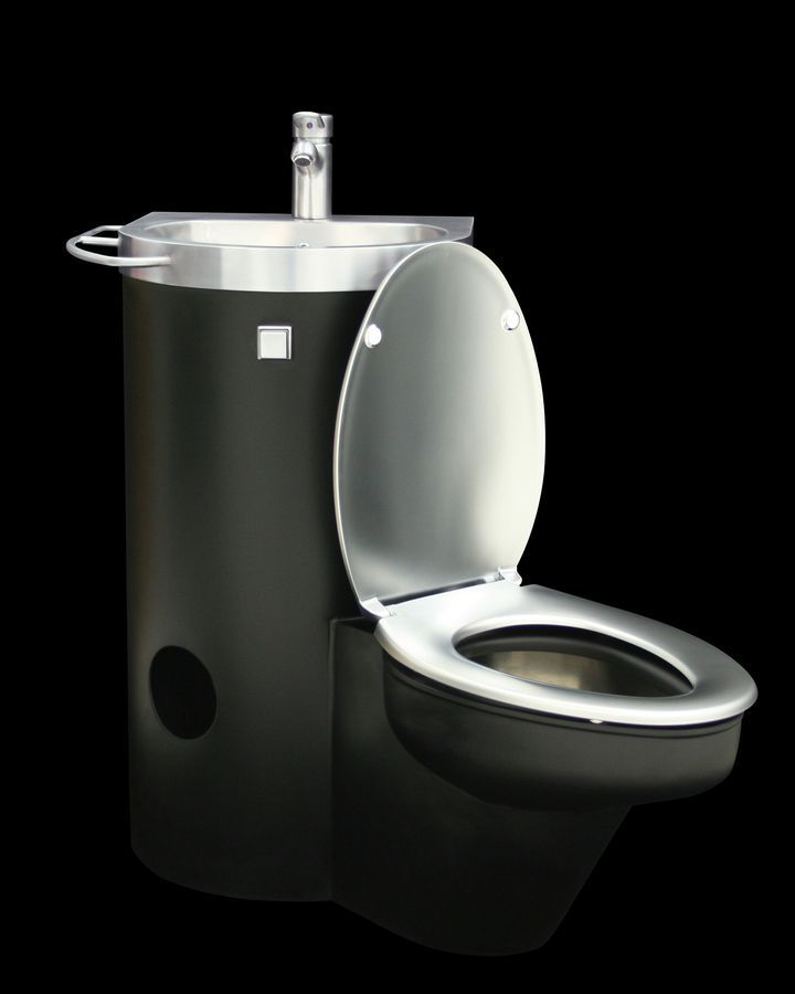 commercial stainless steel toilet with integrated hand. Black Bedroom Furniture Sets. Home Design Ideas