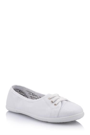 Beyaz Kadin Kanvas Spor Ayakkabi 191043 Ayakkabilar Kadin Moda