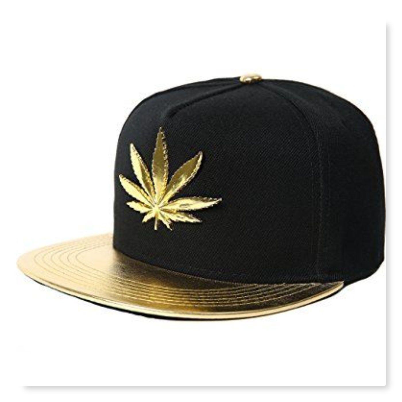 Marijuana Cannabis hat 3D Gold weeds embroidered Snapback Baseball cap Gray