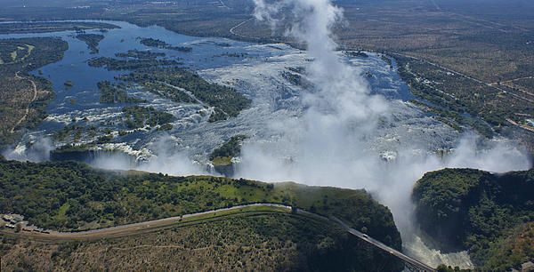 Victoria Falls on Zimbabwe/Zambia border as seen from a helicopter.