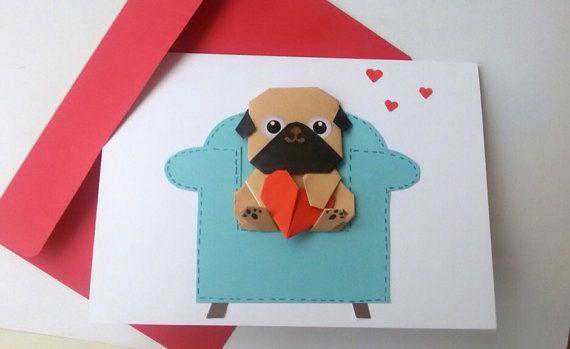Funny Handmade Pug Birthday Card Boyfriend Cute Origami Card