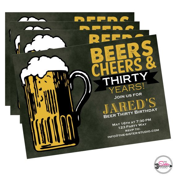 Dirty Thirty Birthday Invitation Beer Funny Invite For Him Ideas Beers And Cheers