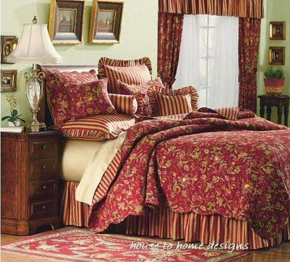 RED GOLD SAGE King QUILT SET   FRENCH COUNTRY CASPIENNE STRIPE FLORAL  PAISLEY