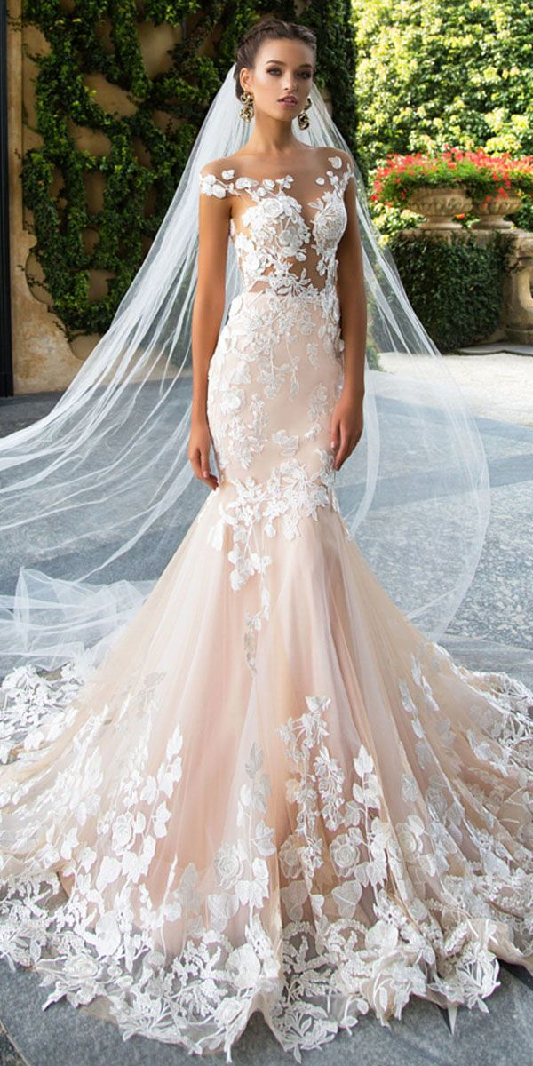 Glamorous Tulle Jewel Neckline See-through Bodice Mermaid Wedding Dresses With Lace Appliques