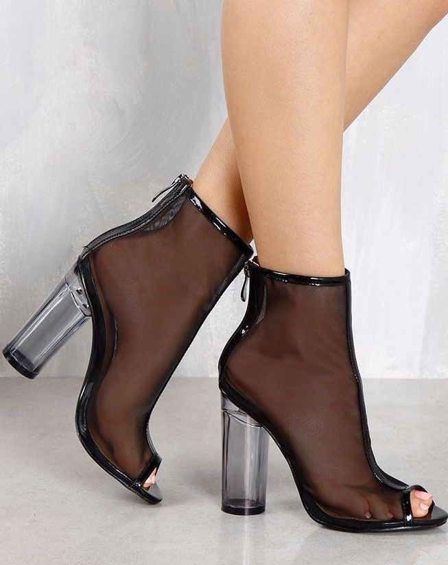 Black Mesh Open Toe Ankle Boot Bootie Block Chunky Clear Lucite Perspex  Heel  CapeRobbin  OpenToe  Clubwear 35fe6e26ecfb