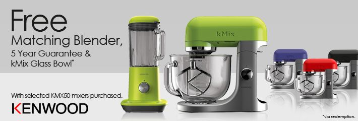 Bake with style using a Kenwood kMix Stand Mixer!  For a limited period at Sonic Direct when you buy selected lines from the kMix KMX50 range, you can also bag an unbelievable selection of extras including a FREE matching table top kMix BLX50 blender. Also, until the 31st May 2015 you will receive a free kMix glass bowl worth £59.99! The icing on the cake is that on top of these great extras you will also receive a FREE 5 Year guarantee for total peace of mind.