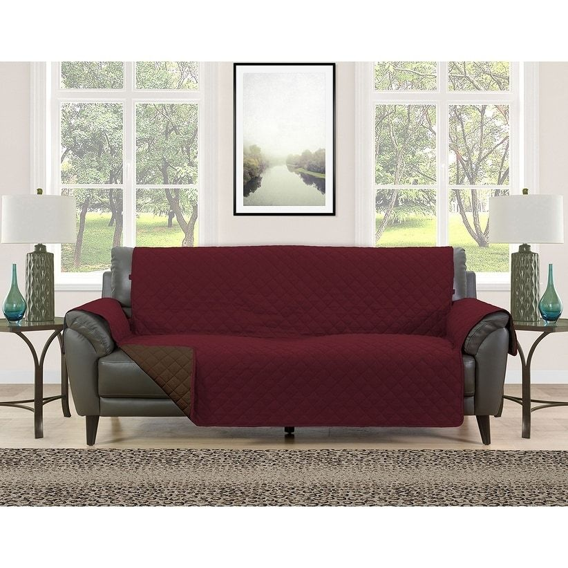 Asher Home Berkley Microfiber Reversible Couch Protector in ...
