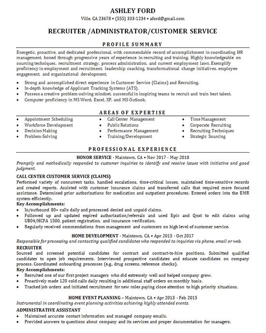 Recruiter Recruiter Resume Recruitment Resume Examples