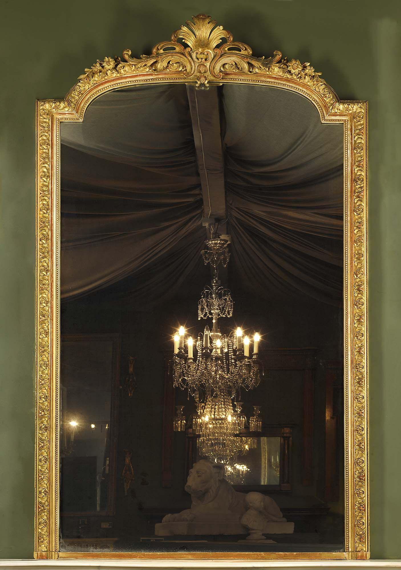 Antique Louis XV Giltwood Overmantel Mirror