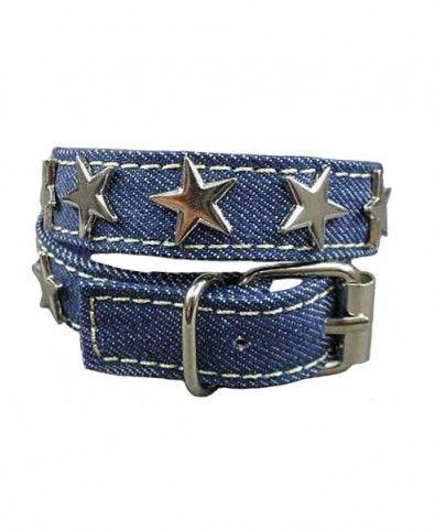 Skinny Denim Bracelet with Stars Embellish