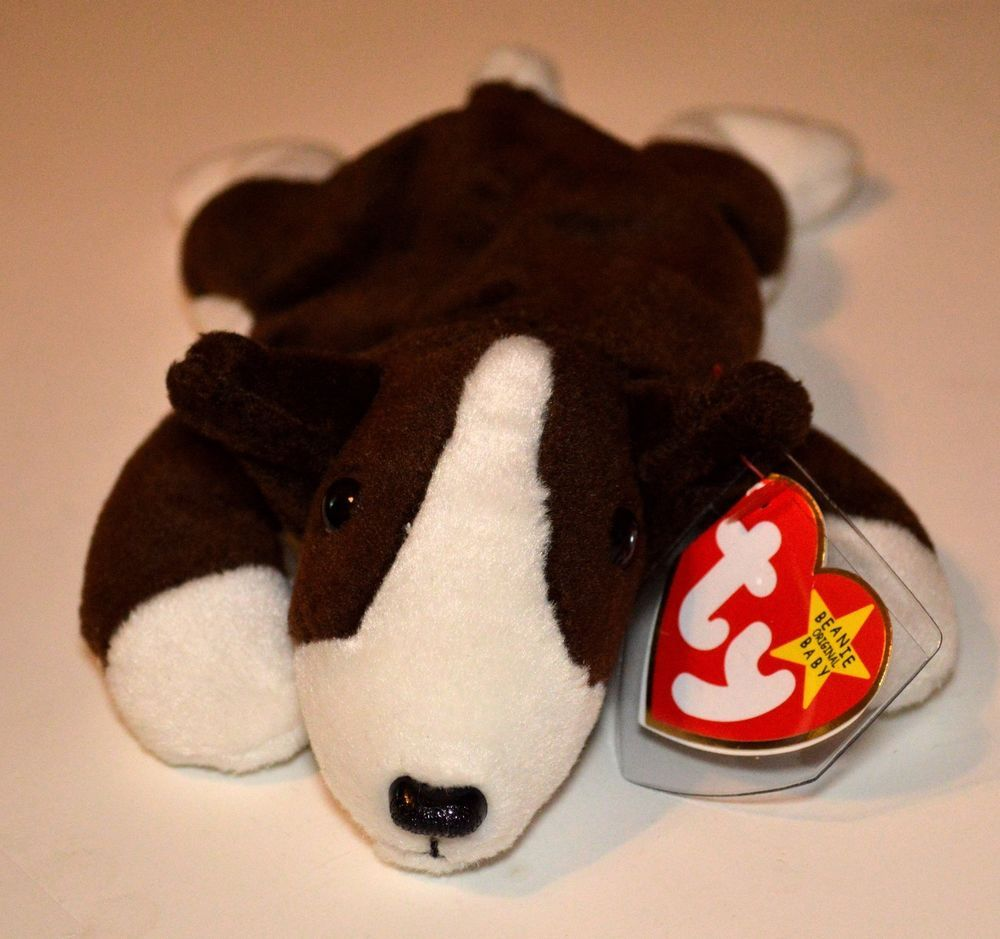 5dcc7ca6041 TY Beanie Babies 1997  Bruno  BullTerrier Dog Mint Tag Protected Retired  Ty