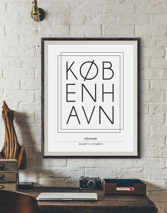 Copenhagen poster copenhagen city print city names print digital print city poster