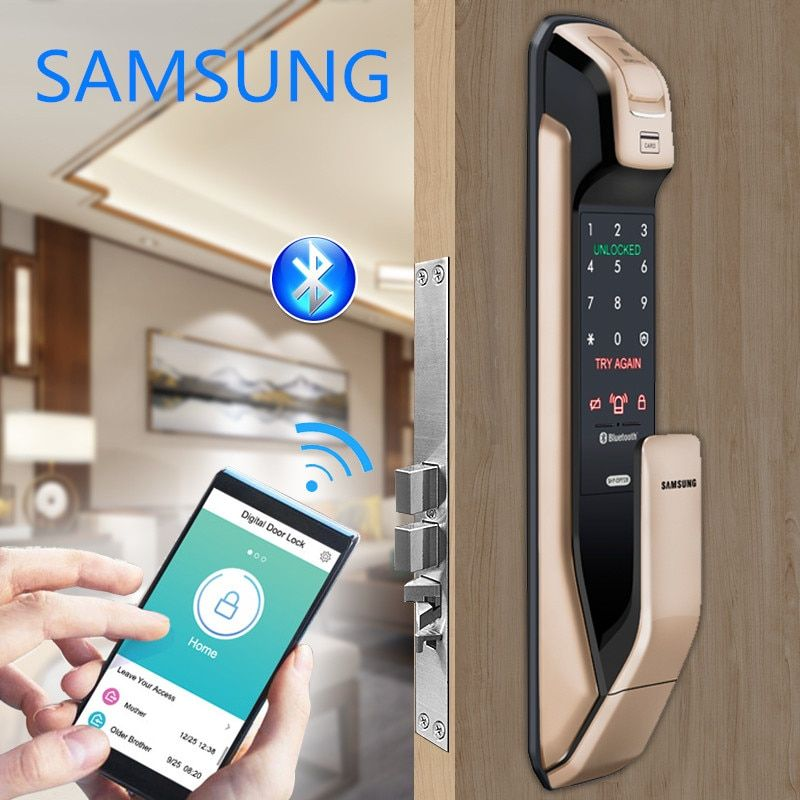 SAMSUNG Fingerprint PUSH PULL Digital Door Lock With WIFI Bluetooth App SHSDP728 English Version Big Mortise AML320