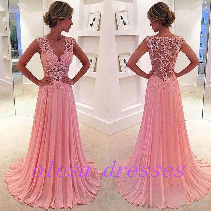 Pink A-line Chiffon Lace Long Prom Dress, Evening Dress - Thumbnail ...