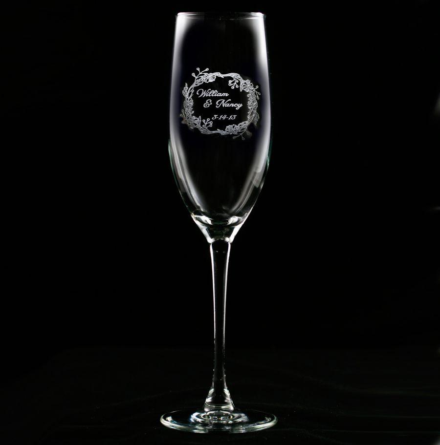 Engraved wedding wreath champagne flute engraved wedding