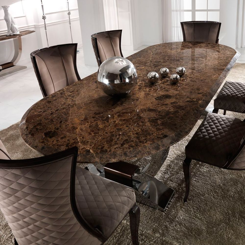 Luxury Italian Brown Marble Oval Dining Set Dining Dining Table