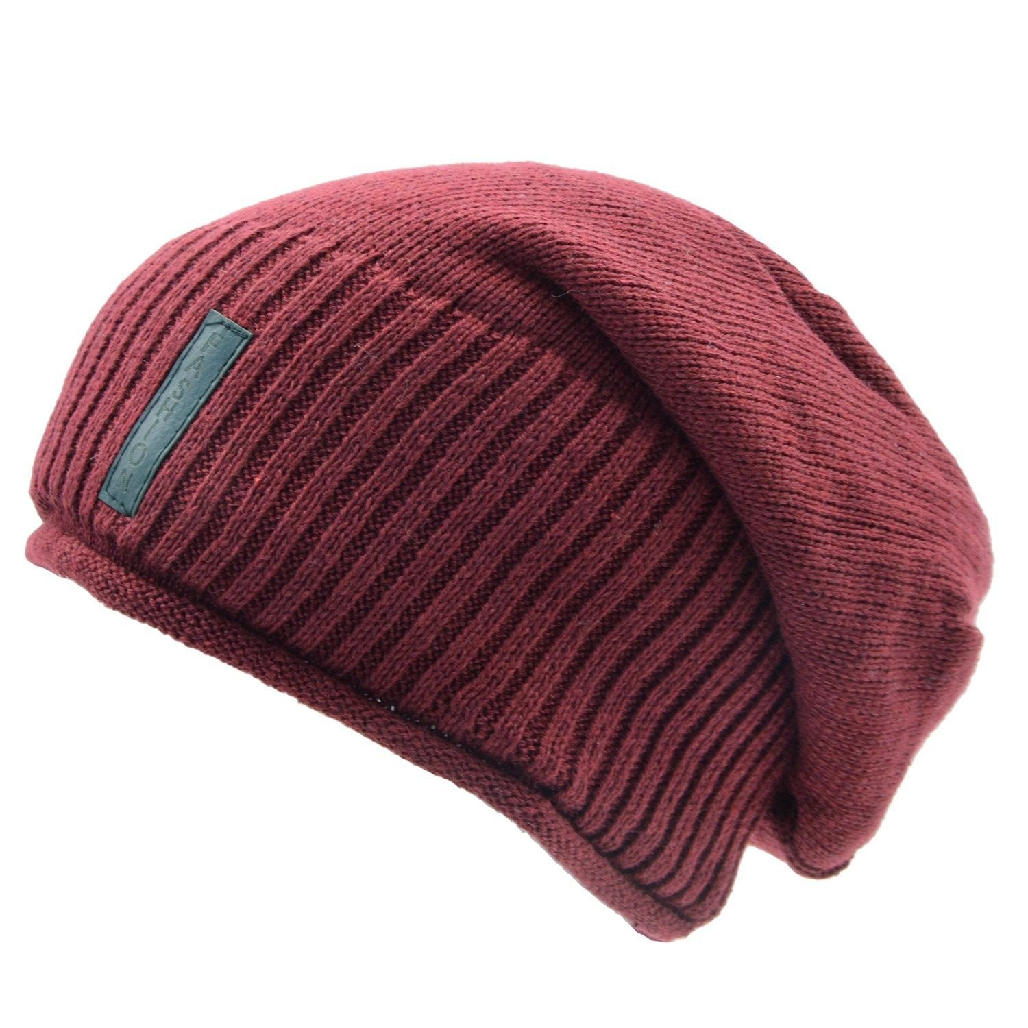 Warm Knit Hat For Men   Women- Soft Long Loose Winter Hat With Hemming and  Wool Inner - Red - CS186OZXGDM - Hats   Caps 29479a6988b