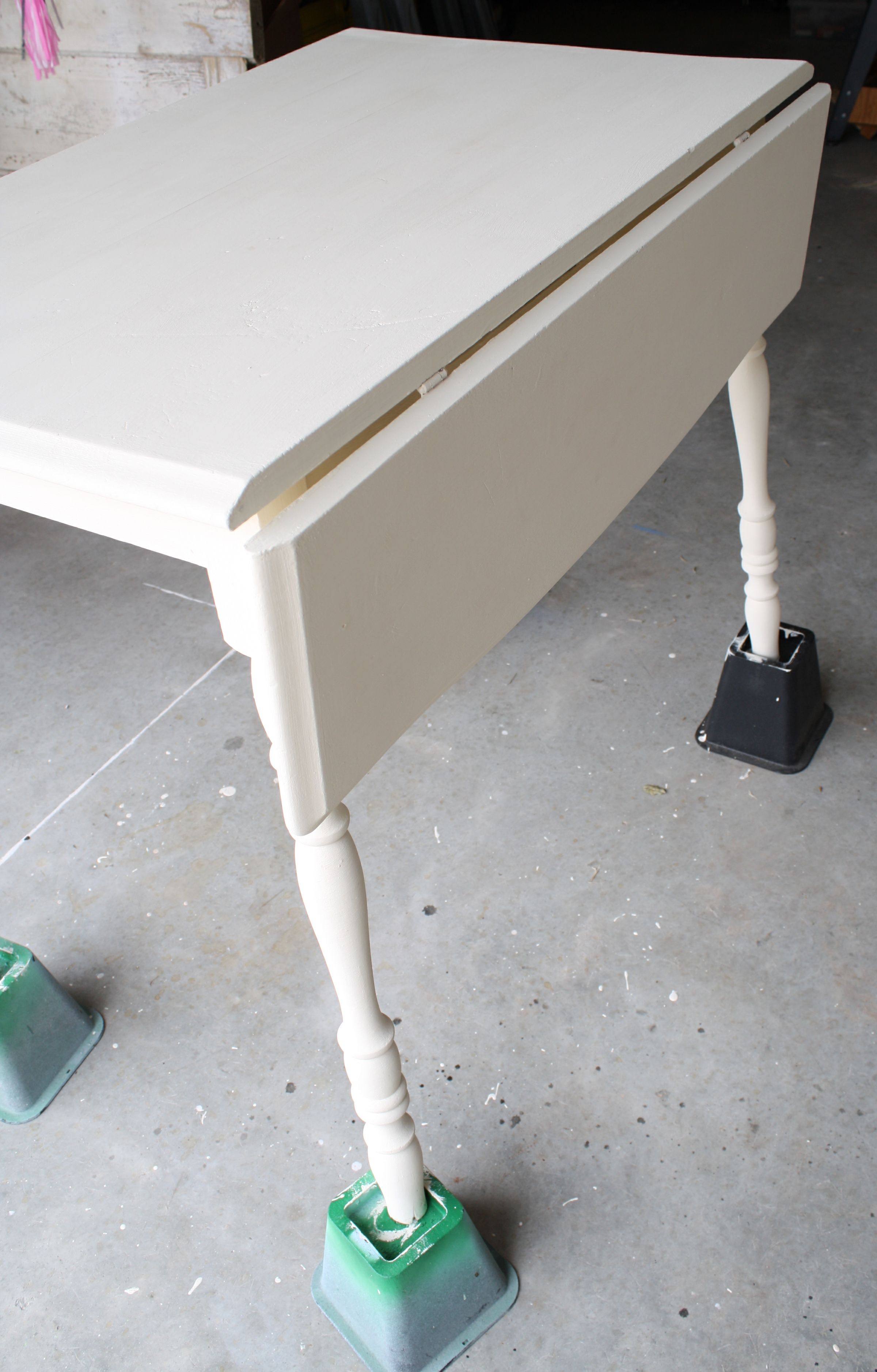 chalk painted drop leaf table
