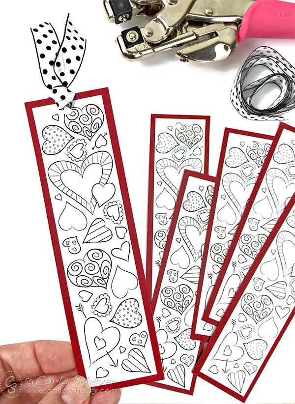 Valentine Heart Bookmarks to Print and Color | San valentín, Santos ...