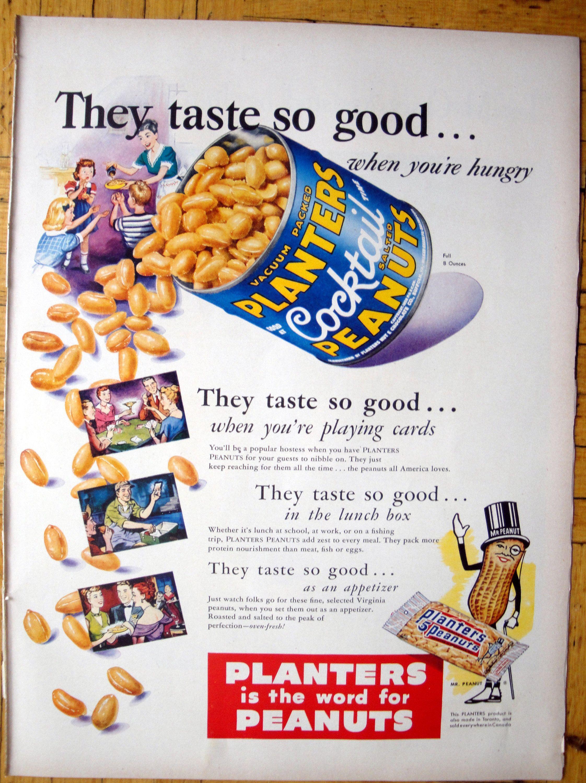 1950 Planters Cocktail Peanuts Taste So Good Original 13 5 10 5