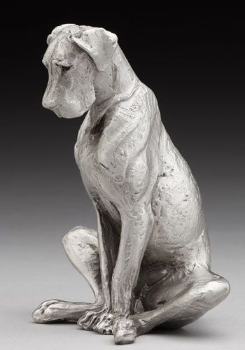 Louise Peterson Great Danes Sit Stay Pewter Dog Sculpture