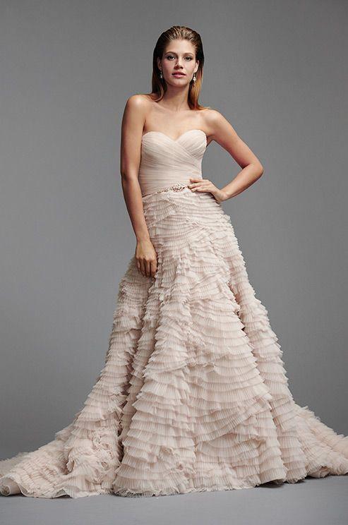 Blush Textured Wedding Dress Watters Spring 2017