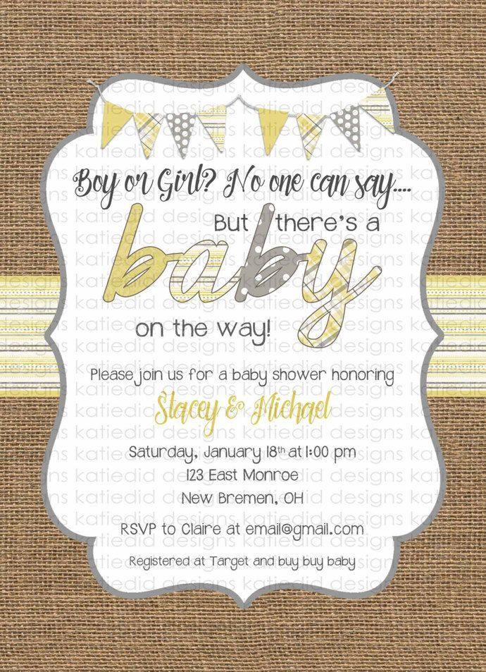 Gender neutral baby shower invitations burlap yellow gray bunting