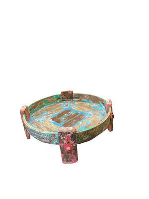 Antique Table Hand Carved Wood Vintage Chakki Table Home Decor Indian  Furniture