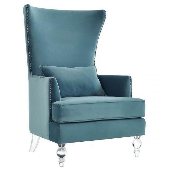 TOV Furniture Bristol Sea Blue Velvet Chair With Lucite Legs