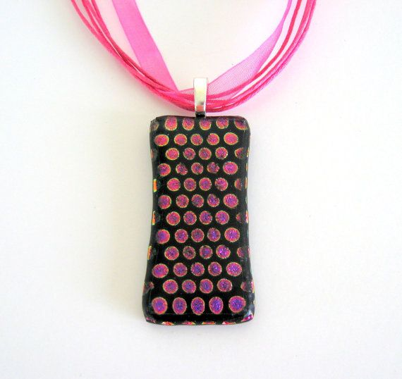 Sale HOT PINK on BLACK Fused Glass Dots by DawnofCreationArt, $19.00