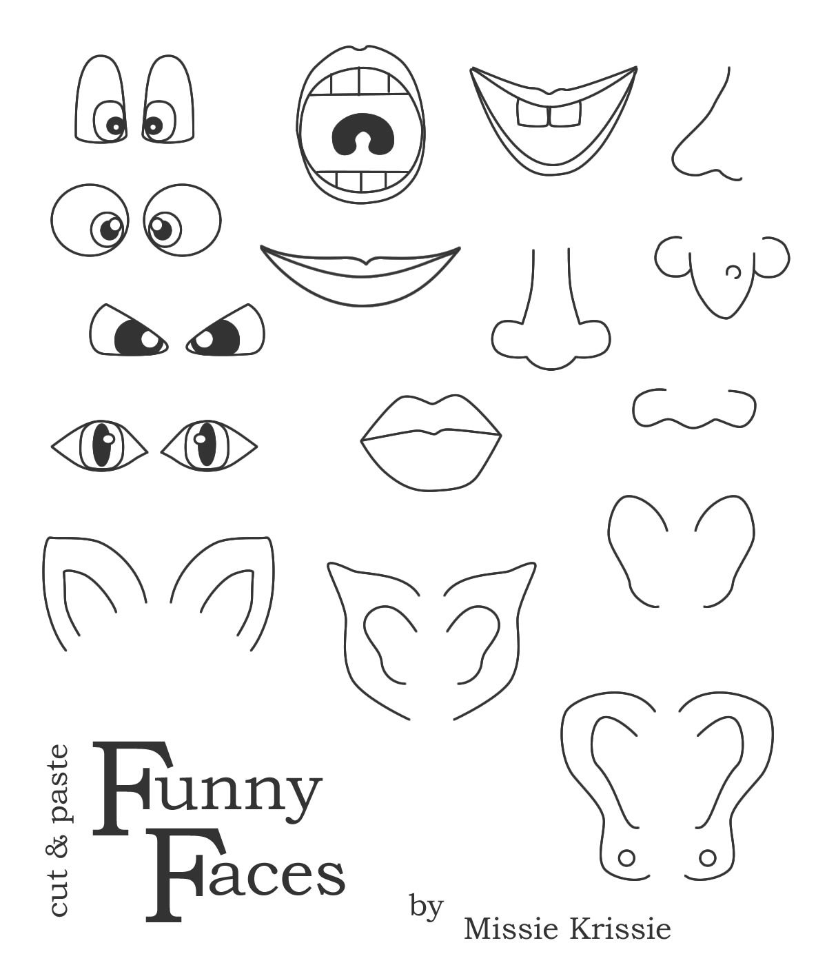 Funny balloon faces - Missie Krissie Blog Funny Faces For Kids Use For Pumpkin Face Parts Craft Activity