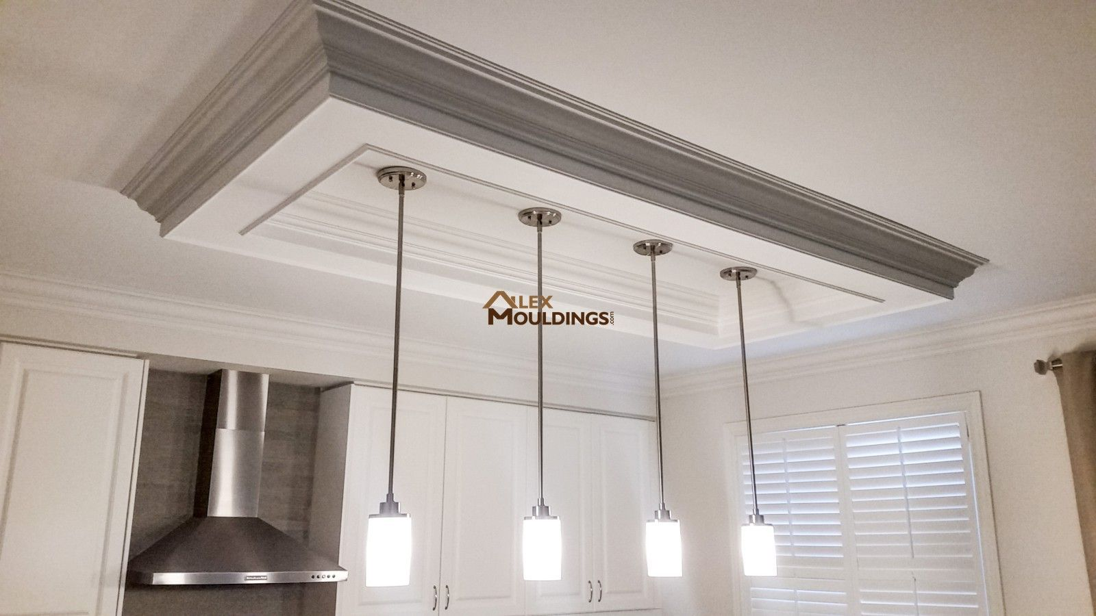 Rectangle Ceiling Box Above Island Trim Kitchen