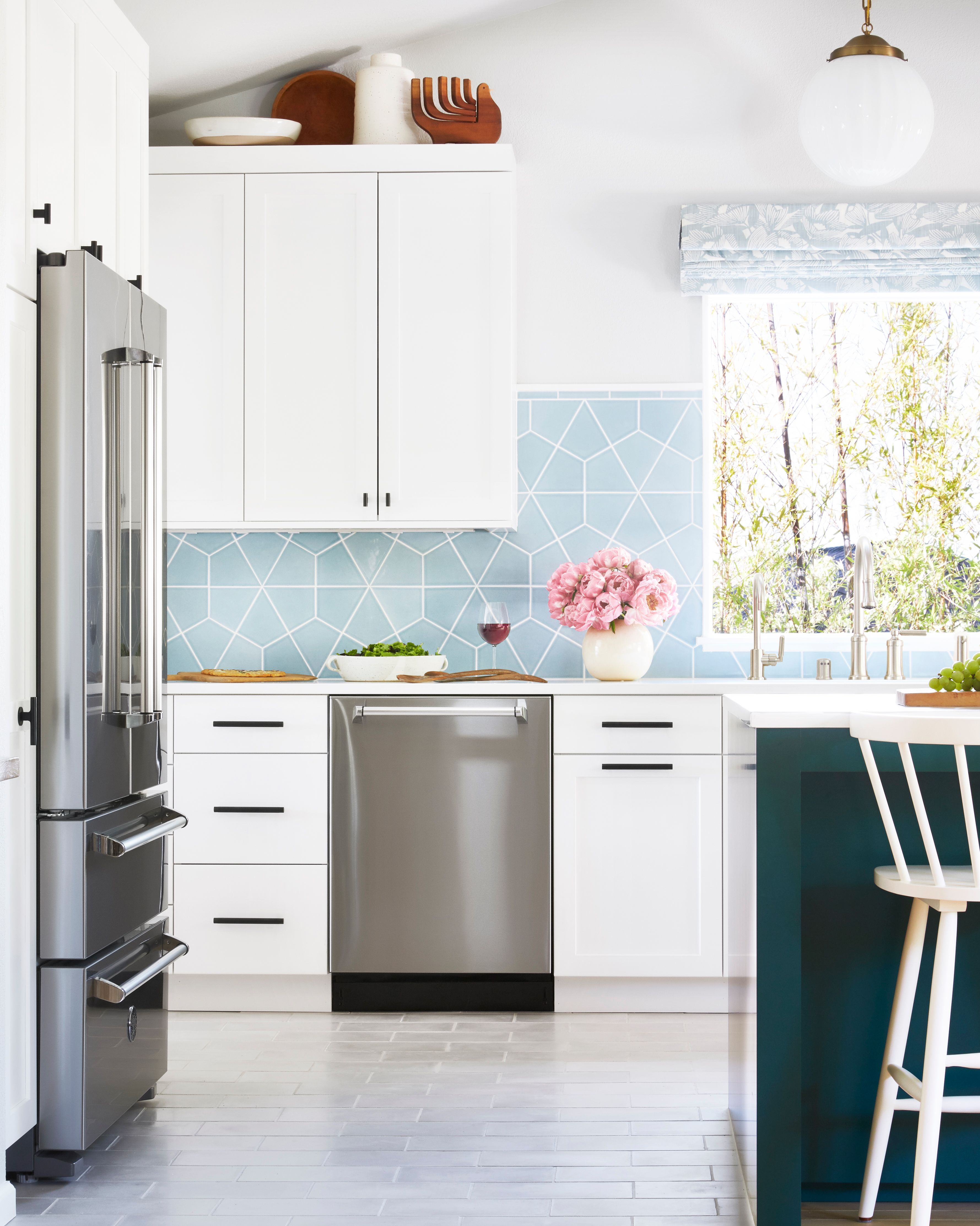 Hexite Tiles In Crater Lake Trimmed With 1x6 Flatliners Blue Kitchen Tiles Kitchen Inspiration Design Backsplash For White Cabinets