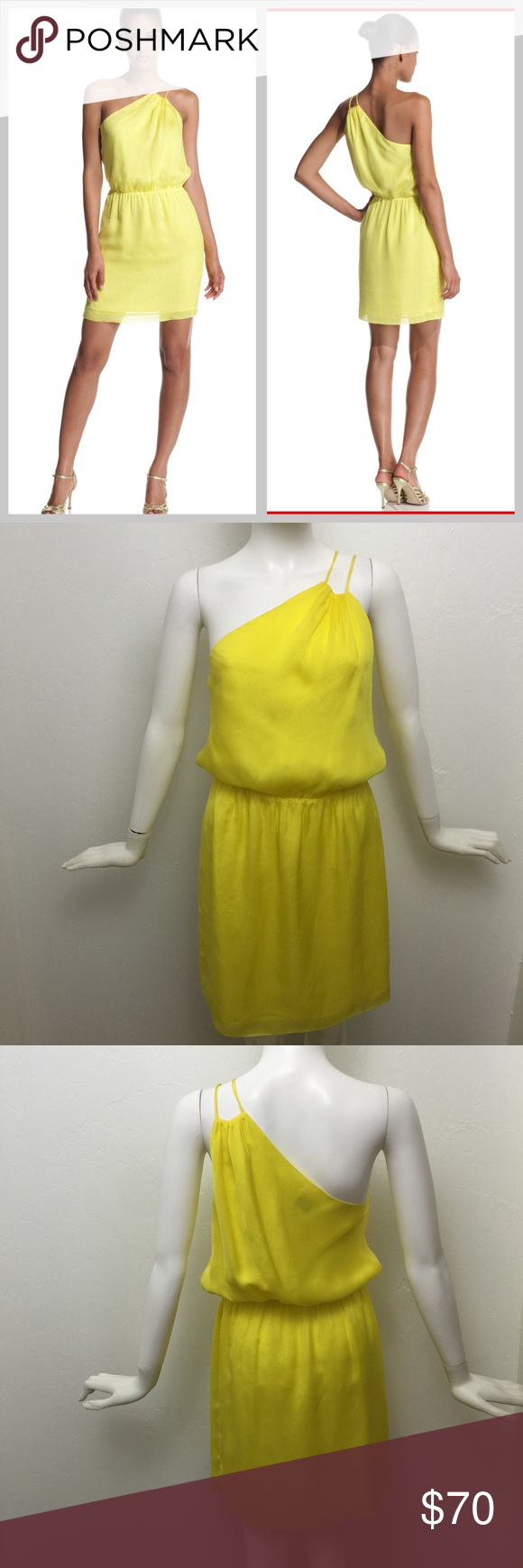 Halston Heritage bright yellow one shoulder dress Beautiful material and elegant style.  This sunny chiffon dress with an asymmetrical neckline is perfect for staying and looking cool in the summer heat. Overall, the fit is very flattering, the fabric is lightweight and the yellow color is perfect!   Descriptions:  - 100% silk  - One-shouldered neckline with double spaghetti straps - Gathering at shoulder and elasticized waist - Fully lined Halston Heritage Dresses One Shoulder