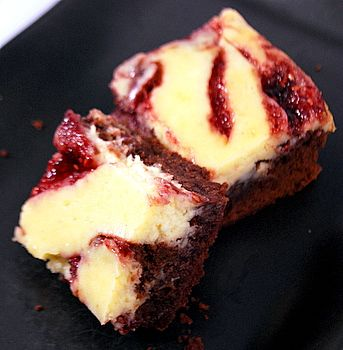 Raspberry Cheesecake Brownies: SO ridiculously easy (I use boxed brownie mix) and so impressive-looking. People go nuts for these!