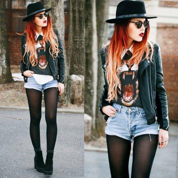 Soft Grunge Fashion Style Black Blouse Lion Blouse Black Boots Vintage Soft Grunge Shoes