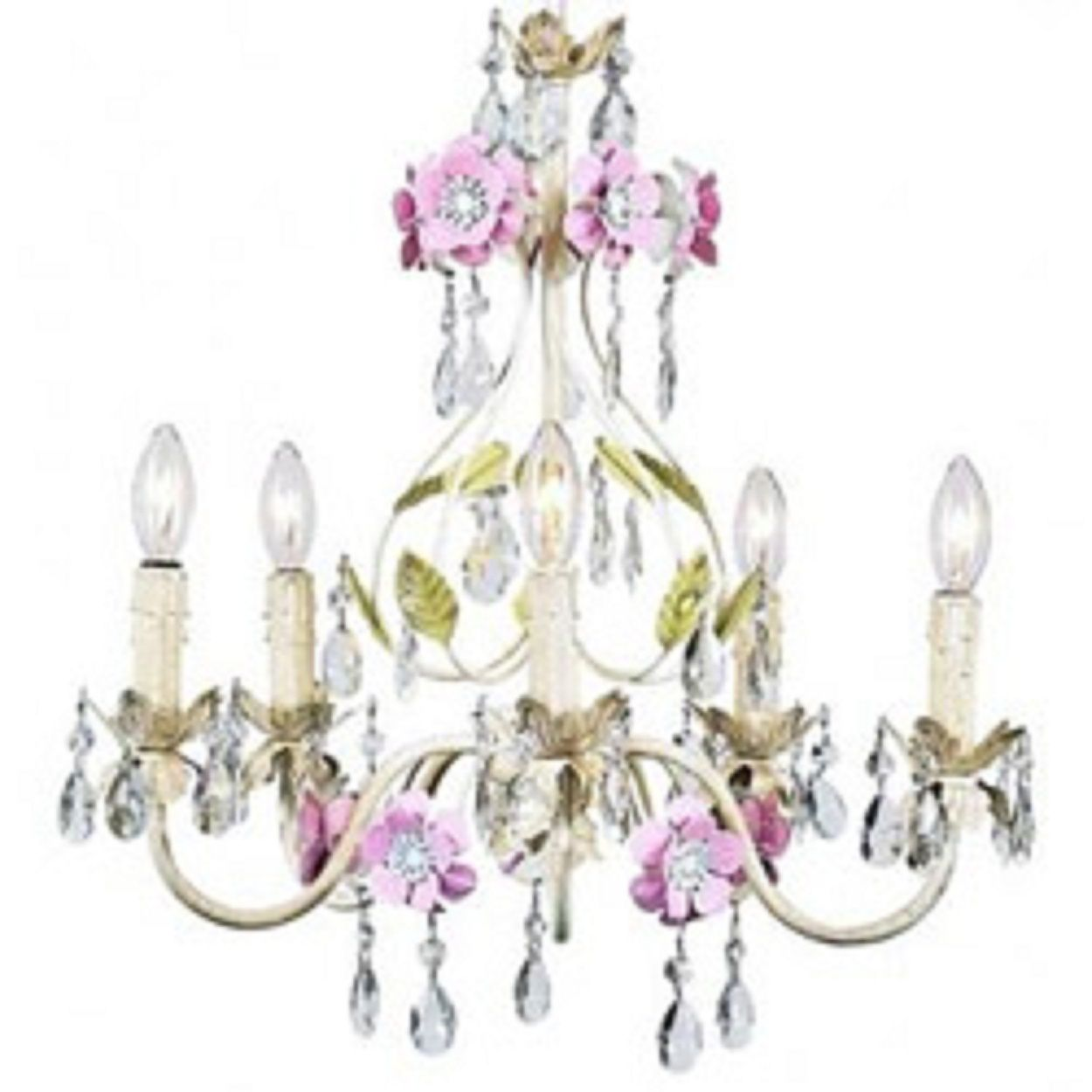 Antique Shabby Chic Chandelier Of Pastel Fl With Dangling Crystals And Be
