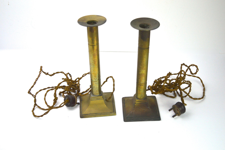 1920s Art Deco Lamp Bases 2 Brass Lamp Bases 2 Pin Plug Etsy Vintage Lamp Bases Art Deco Lamps Art Deco Bar