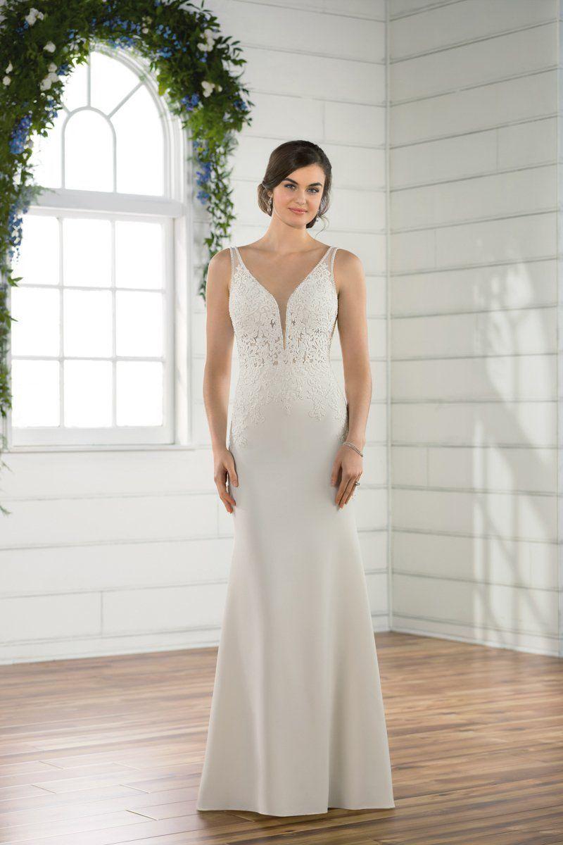 Sheath wedding dress idea classic wedding dress with vneckline