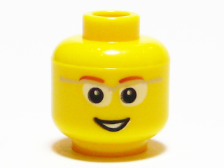 *NEW* 2 Pieces Lego Minifig YELLOW MALE HEAD Brown Eyebrows CHIN DIMPLE