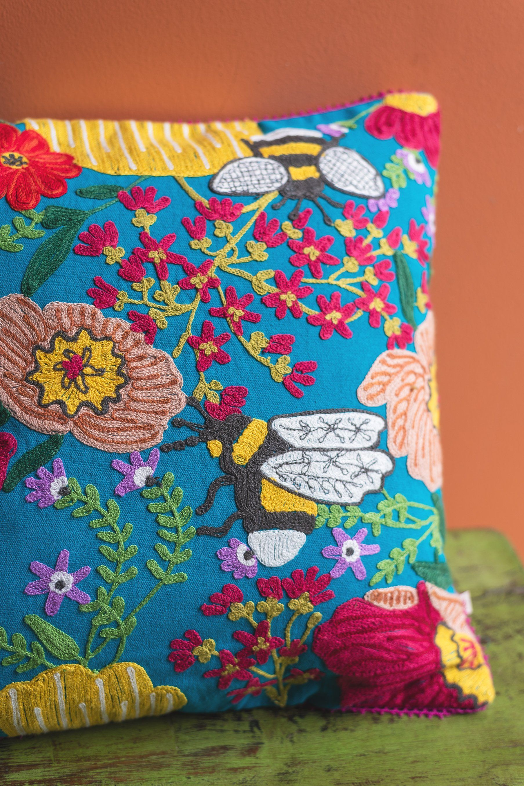 Embroidered Flowers & Bees Cotton Cushion Cover