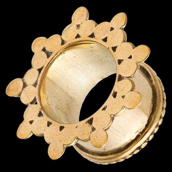 Vintage Brass Flesh Oreille Tunnel Plug Style Vintage Mandala Fleur Lobe Civière