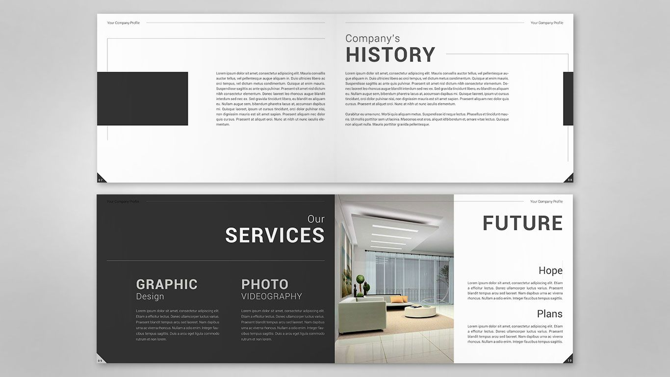 Company profile content design for Foto interior design
