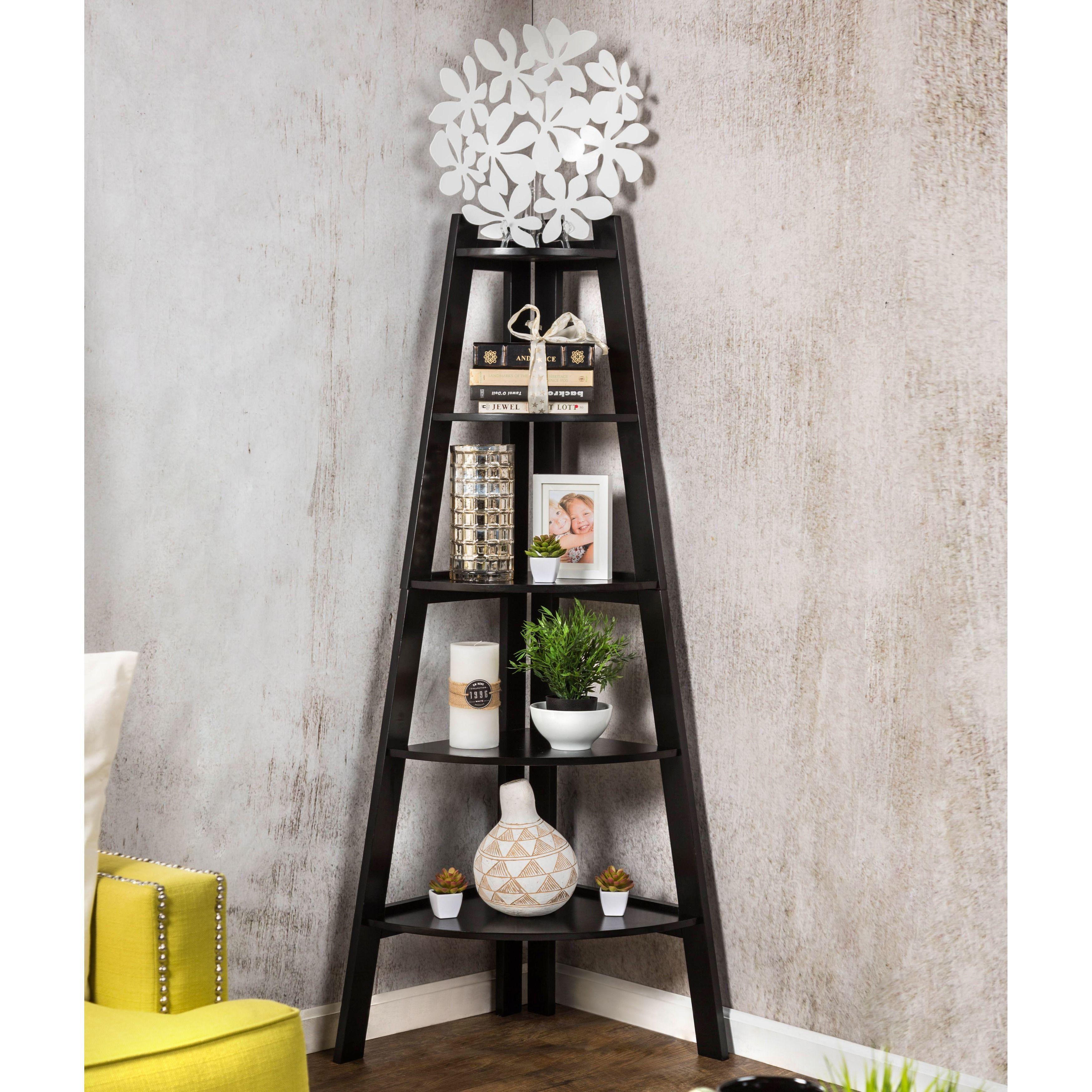 Furniture of america kiki tier corner ladder display bookcase
