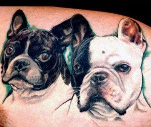 French Bulldog portrait tattoo - dog